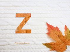 Uppercase letter Z with glitter leaf and sweater knit. #fall #autumn #alphabet #typography #initial #monogram #font | maple leaf