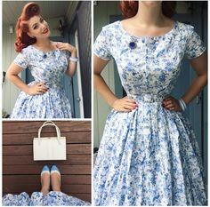 My Week In Outfits! - Miss Victory Violet Moda Vintage, Vintage Mode, Vintage Pins, Cute Dresses, Vintage Dresses, Vintage Outfits, 1940s Fashion, Vintage Fashion, Swing Dress