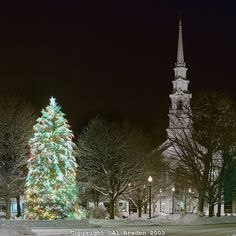 Christmas tree and United Church of Christ at Central Square, Keene, New Hampshire.