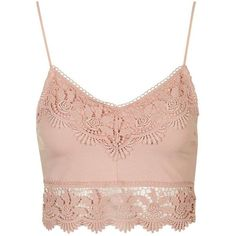 TopShop Crochet Trim Bralet (£20) ❤ liked on Polyvore featuring tops, shirts, crop tops, bralettes, pink crop top, cotton shirts, pink shirts, shirt tops and bralette tops