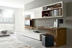 aménagement bureau dans le salon en bois massif, meuble de rangement blanc laqué et pouf design en cuir noir
