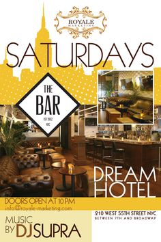 The Bar At The Dream Hotel - Uptown - #NYC - Every #Saturday Evening -