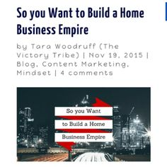 You definitely want to read my latest post if you're serious about building your Home Business Empire http://CoachTara.com  #networkmarketing #therealgopro #homebasedbusinesspro #homebasedbusiness  #mlmsuccess
