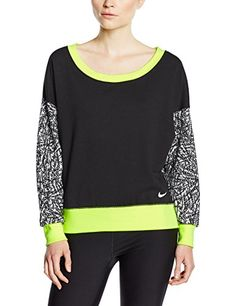 €13.12 in Gr. L * NIKE Damen langarm Shirt Club Crew-All Over Print, Black/Volt/Gcw/White