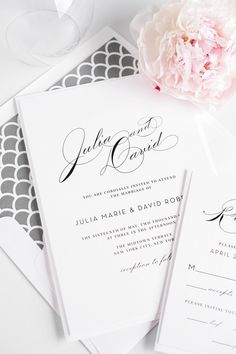 Vintage Gray Wedding Invitations with a charcoal scallop envelope liner