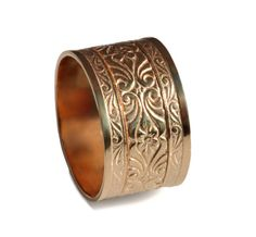14k Rose Gold engraved Scrolls band gold art deco by DINARjewelry