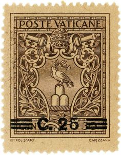 vintage postage stamps, Vatican City postage stamp: Arms of Pope Pius XII: