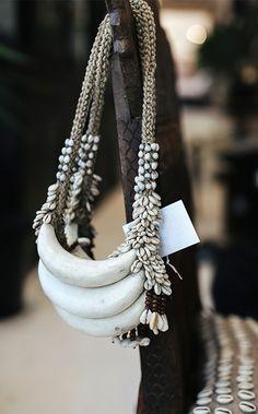 Vintage Bone and Shell Neckpiece | Via Manyara Home