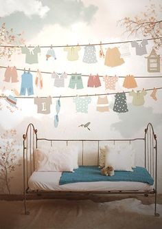 Adorable clothesline decals in a child's room. #kids #decor
