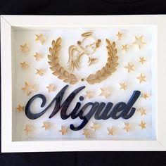Quadro encomendado para o anjinho #miguel ❤️❤️ 30x24cm. Encomende o seu! Email para momoquilling@gmail.com ou inbox! #paperart #art #paperart #angel #anjo #anjomiguel #maedomiguel #portamaternidade #quadromaternidade #babydecor #decoracaoquartobebe #maedemenino #mundoazul #momoquilling