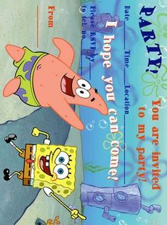 spongebob birthday party ideas | Print free Spongebob birthday party invitations at Spongebob ...