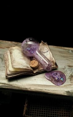 OOAK 1:12 Scale Dollhouse Miniature Spilled Potion Book Laboratory Witch Wizard