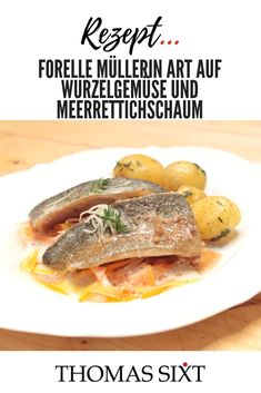cooking Videos Potatoes - Trout Fillet fried with root Vegetables, Potatoes and Horseradish Sauce. Fried Fish, Root Vegetables, Fish Recipes, Seafood Recipes, Cooking Videos, Cooking Recipes, Horseradish Sauce