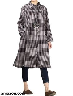 010aa09f730 Mordenmiss Women s Check Plaid A-Line Flare Pleated Shirt Dress with Pockets
