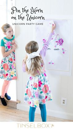 Fun Unicorn Themed Birthday Party Games - Including Pin the Horn on the Unicorn! #unicornparty
