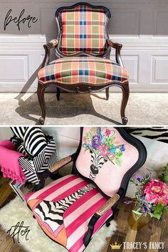 Dark plaid fabric to whimsical jungle accent chair. Click over to the blog to learn how this transformation happened using Dixie Belle Chalk Paint! Tracey Bellion #traceysfancy Fabric Paint Upholstery Paint Pink Stripes Zebra Stripes Painted Chair Ideas Pink Chairs Giraffe Print Zebra Print Chalk Painted Chair Peony Flamingo Soft Pink Chalk Paint Chairs, Painted Chairs, Paint Furniture, Home Decor Furniture, Furniture Makeover, Refinished Furniture, Furniture Ideas, Furniture Design, Zebra Print