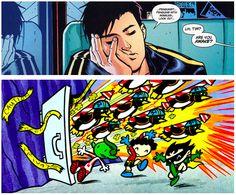 Tim dreams of Tiny Titans (Superman/Batman #62 and Tiny Titans: Penguins in the Batcave)
