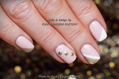 """Gelish Nude and Gold """"Vegas"""" nails by FUNKY FINGERS FACTORY"""