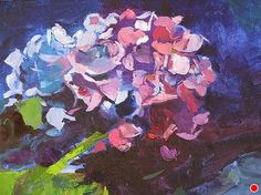 Blue Hydrangea by Ann Watcher Oil ~ 12 x 12