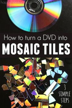 How to Make Mosaic Tiles (for crafting) from a DVD! SO easy, and the tiles are … How to Make Mosaic Tiles (for crafting) from a DVD! SO easy, and the tiles are great for all kinds of mosaic crafts! Upcycled Crafts, Old Cd Crafts, Recycled Cds, Fun Crafts, Adult Crafts, Crafts With Cds, Diy Parol Recycled, Cd Case Crafts, Repurposed