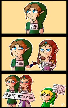 Not Zelda!   Link, Zelda, Toon Link - The Legend of Zelda/Nintendo.   For those who has been trying to find a logic in this comic, It's just a joke, don't take it to seriously.   (by MeeeLifer)