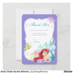 Birthday Presents For Men, Birthday Thank You Cards, Happy Birthday Images, Birthday Gifts, Ariel Under The Sea, Mermaid Under The Sea, The Little Mermaid, Mermaid Theme Birthday, Disney Birthday