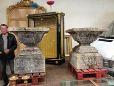 Pair of Estate Sized French Stone Urns | From a unique collection of antique and modern planters and jardinieres at http://www.1stdibs.com/furniture/building-garden/planters-jardinieres/