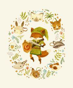 """The Legend of Zelda: Mammal's Mask by Teagan White : can buy it printed on lots of things, this was created for """"Press Paws"""" Charity show at Gallery Nucleus to benefit an animal rescue."""
