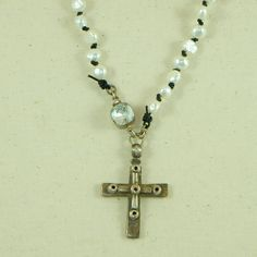 Coptic Cross Necklace with Swarovski Crystal Clasp