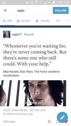 I believe Maz was talking about Luke, but this is still sweet.
