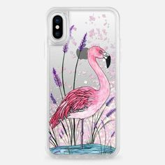 Casetify iPhone X Liquid Glitter Case - Wildflower Flamingo by ChristineMay