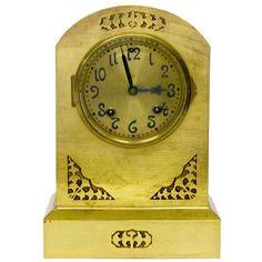 1905 Art Nouveau Brass Ansonia Mantel Clock by Ruby + George