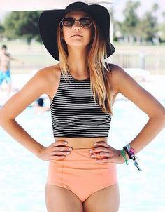 Stripes Bikini Top and High Waist Bottom Two Piece Suit - FIREVOGUE