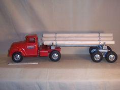 Vintage Tonka Logging Wood Hauler Pressed Steel Toy Semi Timber Truck & Trailer