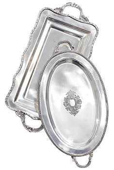 Elegant silver serving trays, Orange and Pear