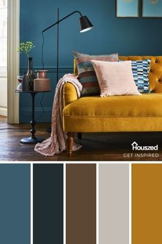 Blue Couch Living Room, Teal Living Rooms, Living Room Color Schemes, Living Room Colors, Bedroom Colors, Living Room Decor, Paint Colors For Home, House Colors, Interior Design Living Room
