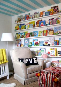 reading corner - I love floor to ceiling books, this looks like the perfect comfy reading corner! #PrimroseReadingCorner
