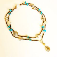 Long Strand necklace, TURQUOISE, shell and 18K GOLD necklace, turquoise necklace, yellow gold on Etsy, $355.00