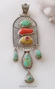 David Troutman Bisbee Turquoise, Mediterranean Coral, Amber & Sterling Silver Pendant