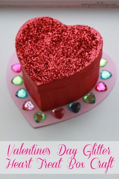 Valentine's Day Glitter Heart Treat Box Craft
