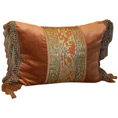 Single Antique Embroidered Textile Pillow at 1stdibs ❤ liked on Polyvore