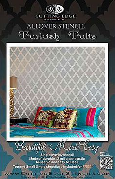Cutting Edge Stencils - Turkish Tulip Allover Stencil