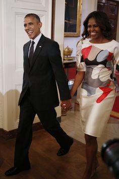 abstract art gown michelle obama carolina herrera