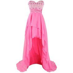 Amazon.com: Alizeebridal Women's Short Front Long Back Chiffon Hi-Low... ($30) ❤ liked on Polyvore featuring dresses, gowns, pink dress, chiffon dress, prom ball gowns, hot pink dress and hot pink ball gown