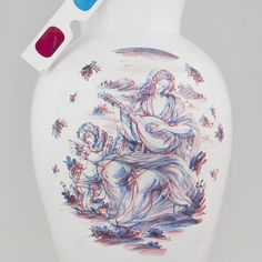 Italian designer Guido Garotti worked with traditional ceramicists to create a hand-painted vase with the appearance of a stereoscopic image