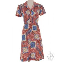 Vintage Short Sleeved Dress Terracotta With A Revere Front