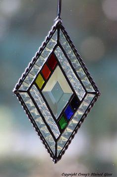 Diamond Bevel Stained Glass Suncatcher by connysstainedglass