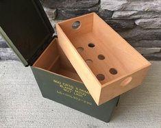 "Custom cigar humidors built from repurposed ""surplus"" military ammo cans, shipping crates and Cigar Humidor, Cigar Bar, Churchill Cigars, Etsy Free Shipping, Green Manufacturing, Cigar Shops, Ammo Cans, Shipping Crates, Cigar Room"