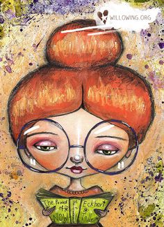 Book Worm Girl Art Print by willowing on Etsy