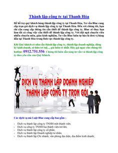 Thành lập côgn ty tại Thanh Hóa - Thành lập doanh nghiệp thanh hóa giá rẻ